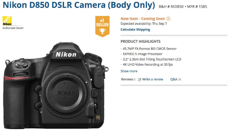 Nikon D850 BH Photo mais vendida
